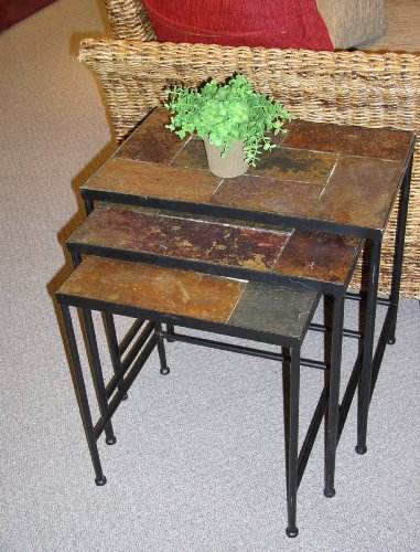 4D Concepts 3-Piece Nesting Tables with Slate Tops, Metal/Slate (Top Patio Tables Slate Side)