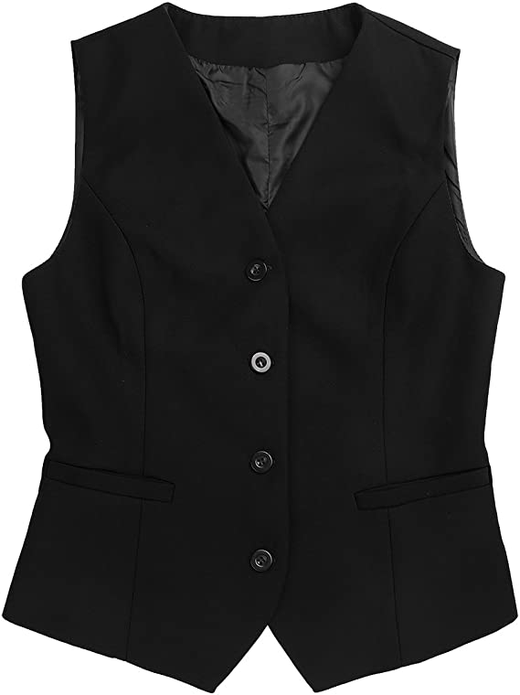 iEFiEL Womens Fully Lined 4 Button V-Neck Economy Vest