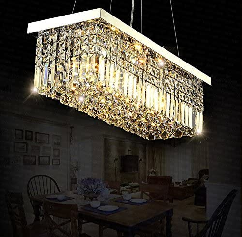 7PM W40 x D10 Modern Rain Drop Rectangle Clear K9 Crystal Chandelier Pendant Lamp Lighting Fixture 8 Lights for Dining Living Bedroom Room Chrome Frame