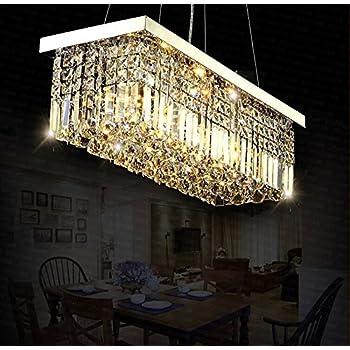 Modern clear crystal chandelier lighting rectangular pendant lamp siljoy l40 x w10 rectangle modern crystal chandelier lighting raindrop pendant light dining room aloadofball Choice Image