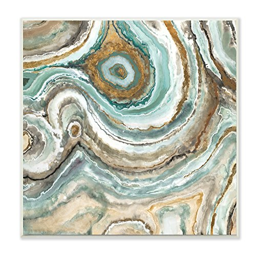 Stupell Home Décor Aqua Geode Stone Wall Plaque Art, 12 x 0.5 x 12, Proudly Made in - Plaque Stone Art