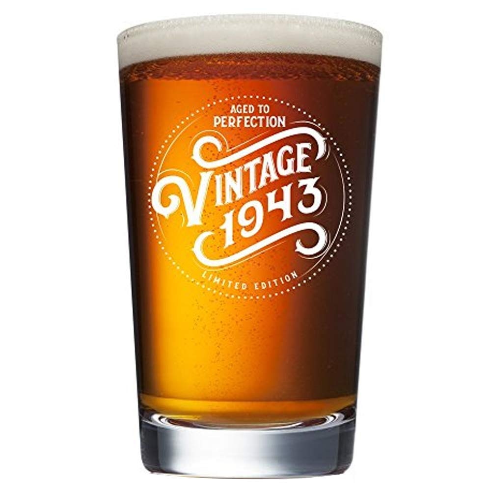 Funny Vintage 76 Year Old 16 oz Pint Glasses Party Decorations Supplies Best Beers Mug 1943 76th Birthday Gifts for Men and Women Beer Glass Anniversary Gift Ideas for Dad Mom Husband Wife