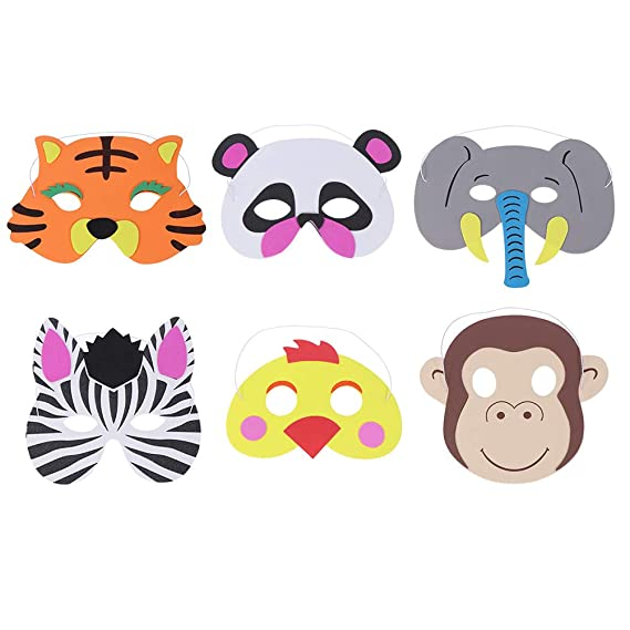 Amazon.com: Toyvian 6pcs Cartoon Kids Eva Foam Animal Masks ...