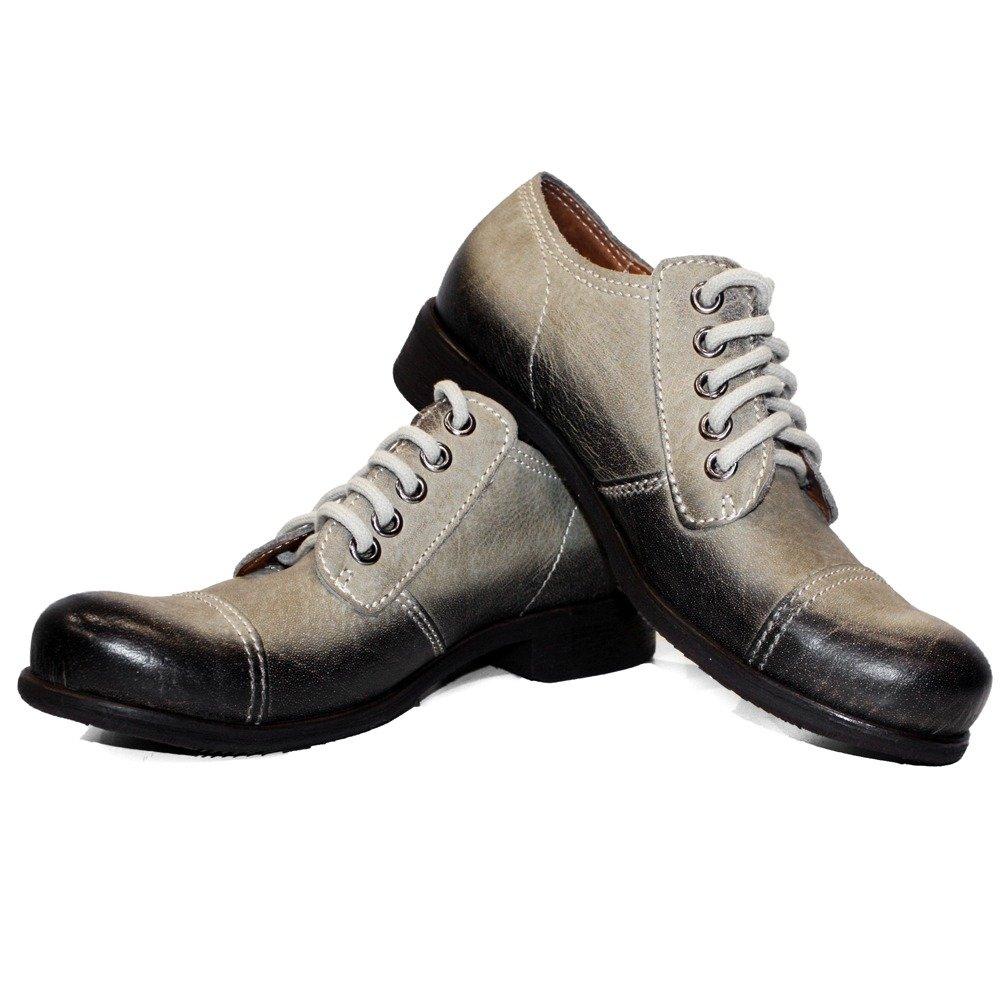 Modello Modello Modello Macho - Cuero Italiano Hecho A Mano Hombre Piel Gris Zapatos Vestir Oxfords - Ante - Encaje 5ada9b
