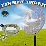 Mistcooling - Fan Mist Kit - Low Pressure Misting Ring - DIY Fan Mist Ring with Brass/Stainless Steel Nozzles (2 Nozzle System)