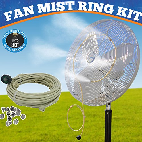 (mistcooling - Fan Mist Kit - Low Pressure Misting Ring - DIY Fan Mist Ring with Brass/Stainless Steel Nozzles (2 Nozzle)