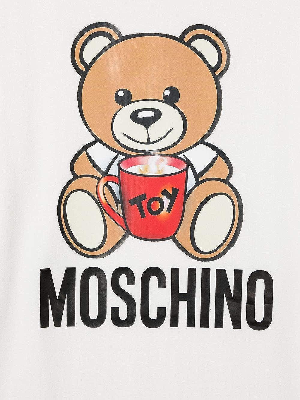 Moschino Maxi T-Shirt Panna con Stampa Orsetto