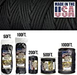 TOUGH-GRID 750lb Black Paracord/Parachute Cord - Genuine Mil Spec Type IV 750lb Paracord Used by The US Military (MIl-C-5040-H) - 100% Nylon - Made in The USA. 200Ft. - Black