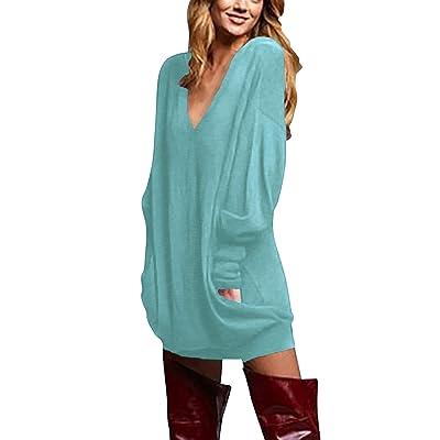 ZANZEA Women's V Neck Long Sleeve Loose Baggy Jumper Tunic Tops Mini Dress Pullover at Women's Clothing store
