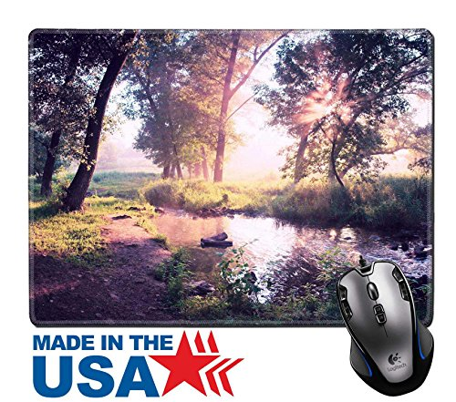 """MSD Natural Rubber Mouse Pad/Mat with Stitched Edges 9.8"""" x 7.9"""" Beautiful summer morning in wood with sun rays and a fog the river vintage style IMAGE - Old Orchard Brands"""
