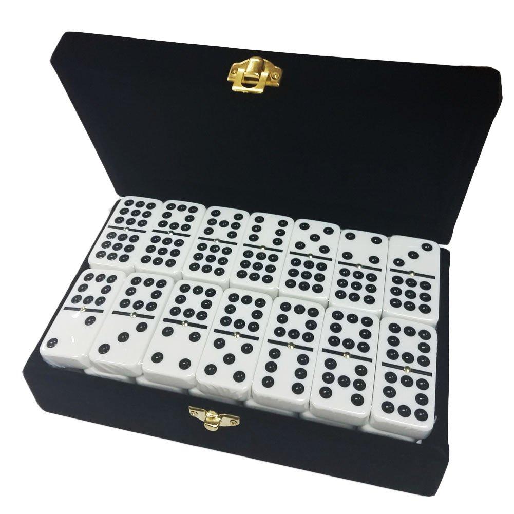 【期間限定】 Double 9 Box in White Dominoes Velvet Jumbo Tournament Size in Elegant Velvet Box B0757CT6WB, タイヤオンライン:e703341e --- yelica.com