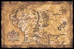 The Hobbit / The Lord Of The Rings - Map Of Middle Earth (Limited Dark / Sepia Edition) (Size: 36\
