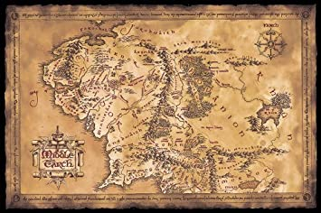 Map X.The Hobbit The Lord Of The Rings Movie Poster Print Map Of Middle Earth Limited Dark Sepia Edition Size 36 Inches X 24 Inches Unframed
