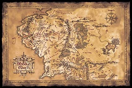 Amazon the hobbitthe lord of the rings middle earth map the hobbitthe lord of the rings middle earth map movie poster gumiabroncs Choice Image