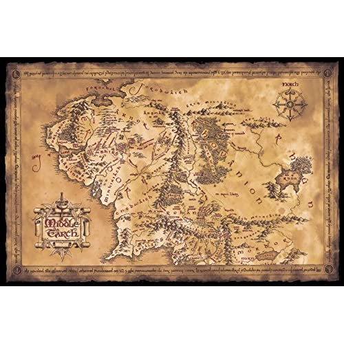 the hobbit the lord of the rings map of middle earth movie poster limited dark sepia edition size 36 x 24 by poster stop online