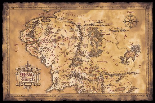 The Hobbit / The Lord Of The Rings - Framed Music Poster / Print (Map Of Middle Earth - Limited Dark / Sepia Edition) (Size: 36