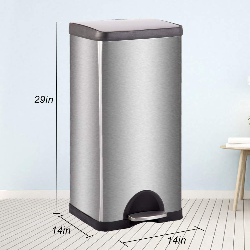 Metal Trash can Step Trash can Stainless Steel Trash can with Removable Inner lid for Home Kitchen Bathroom Office 10 Gallon / 30L by BestMassage (Image #7)