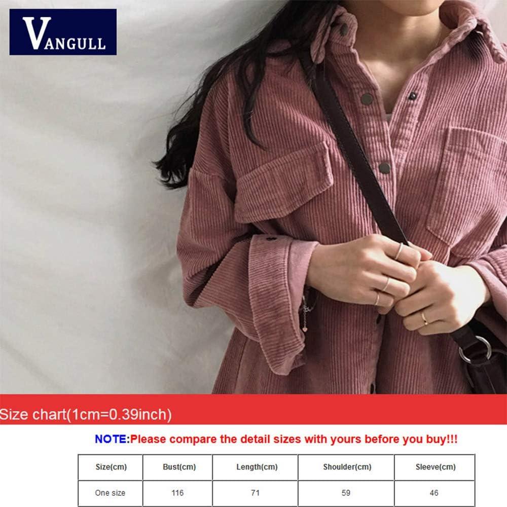 SLLSKY Women Corduroy Jacket Long Sleeve Loose Causal Coat