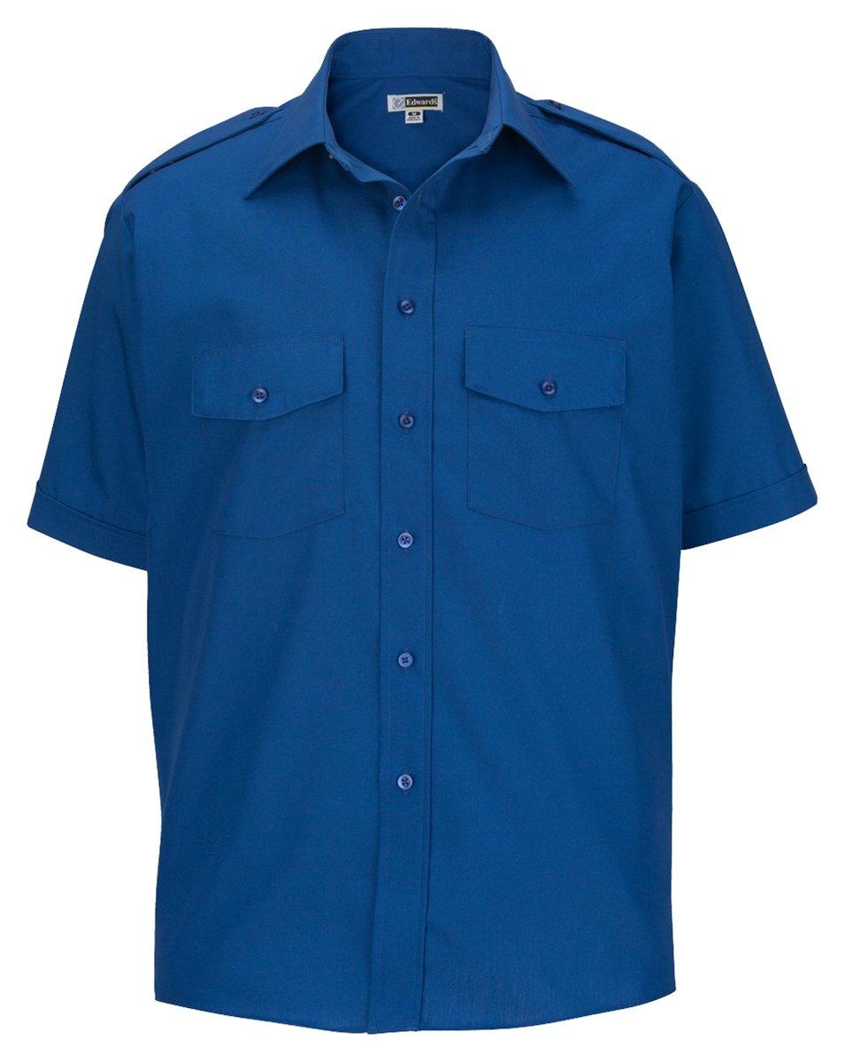 Edwards Garment Men's Big and Tall Point Collar Safari Poplin Shirt, Royal, XL T