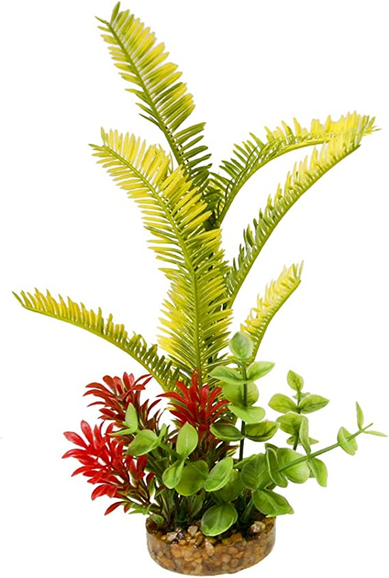 """Green Sword Aquarium Weighted Base Free-Standing Plastic Colorburst Plant 10/"""""""