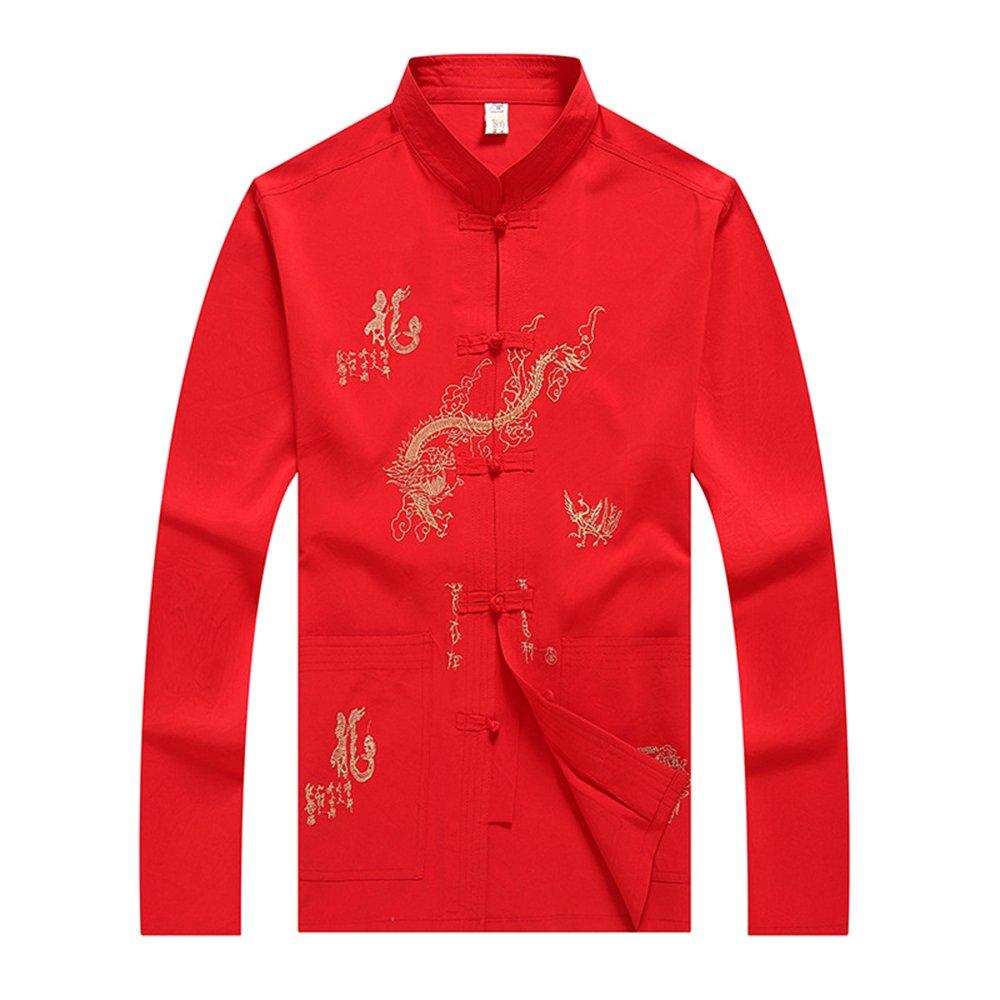 BOZEVON Homme Manches Longues Chemise Veste de Tang Rétro Kung-Fu Vêtement Chinois