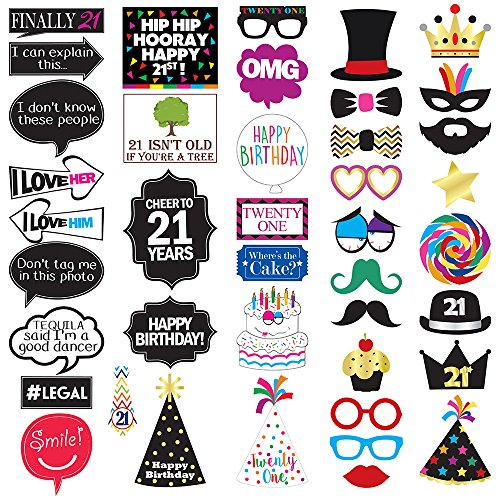 Image Is Loading 21St Birthday Photo Booth Party Props 40 PC