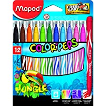 Maped Color Peps Jungle Felt Tip Markers, Box of 12 Assorted Colours (845420)
