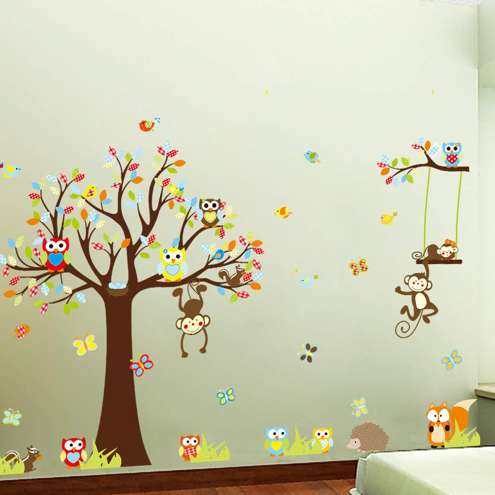 Timeless Glam Owl Monkey Children's Room Decoration Wall Stickers