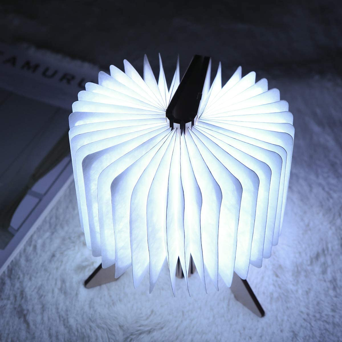 Tomshine LED L/ámpara de Libro,Luz Forma de Libro Plegable Recargable USB Book Lamp Clase de eficiencia energ/ética A+ Cambio de Color//Temporizador//Con Soporte Luz de Noche Magn/ética Decorar