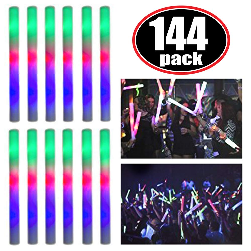 Super Z Outlet Upgraded Light up Foam Sticks, 3 Modes Colorful Flashing LED Strobe Stick for Party, Concert and Event (144 Pack) by Super Z Outlet (Image #1)