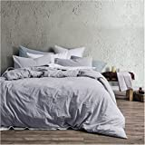 Eikei Washed Cotton Chambray Duvet Cover Solid Color Casual Modern Style Bedding Set Relaxed Soft Feel Natural Wrinkled Look (Queen, Faded Violet)