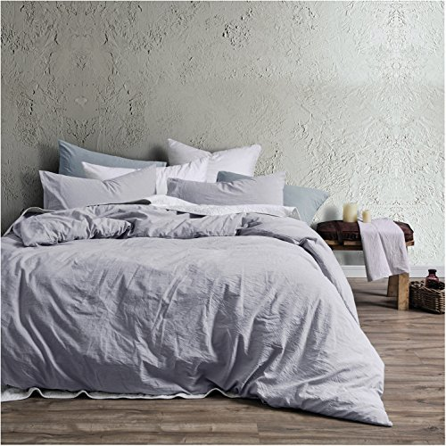 (Eikei Washed Cotton Chambray Duvet Cover Solid Color Casual Modern Style Bedding Set Relaxed Soft Feel Natural Wrinkled Look (Queen, Faded Violet))