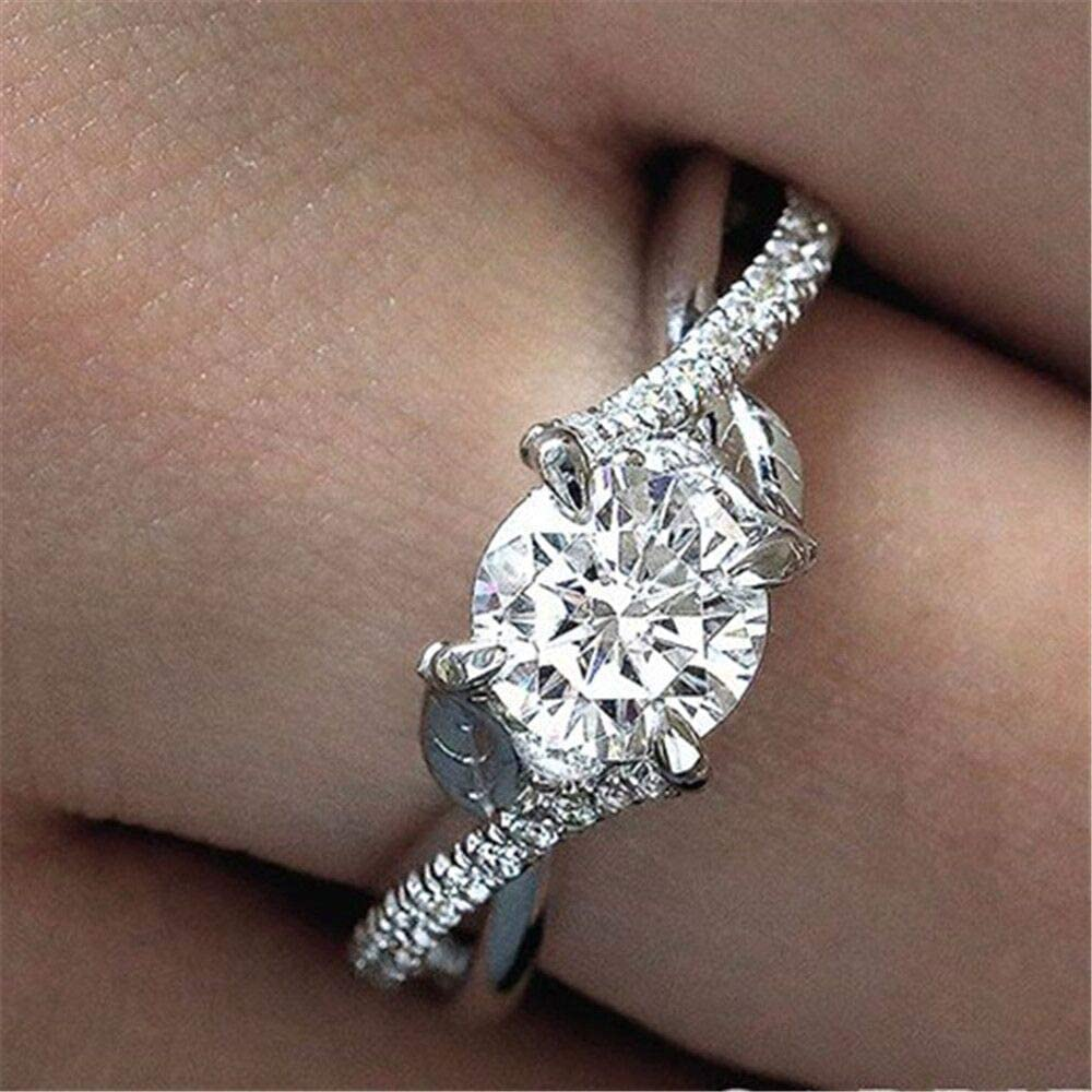Huitan Wedding Ring with Leaf Design Round Brilliant CZ Prong Setting Best Engagement Rings for Women Valentines Gift