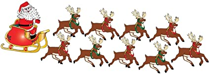 amazon com santa claus wall decals in his sleigh with 8 reindeer