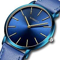 [Patrocinado] Kashidun relojes para hombre y mujer reloj de lujo, relojes de pulsera de cuarzo esfera Simple pequeño impermeable 582, S, Azul