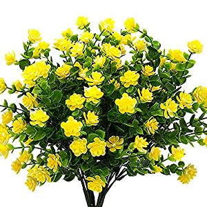YISNUO Artificial Flowers, Fake Outdoor UV Resistant Plants Faux Plastic Greenery Shrubs Indoor Outside Hanging Planter Home Kitchen Office Wedding, Garden Decor(Yellow) 1