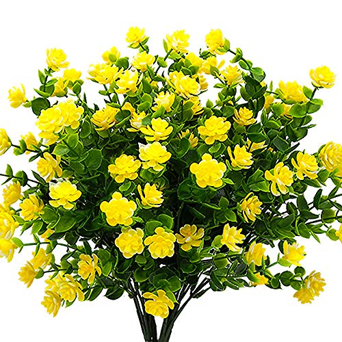 (YISNUO Artificial Flowers, Fake Outdoor UV Resistant Plants Faux Plastic Greenery Shrubs Indoor Outside Hanging Planter Home Kitchen Office Wedding, Garden Decor(Yellow))
