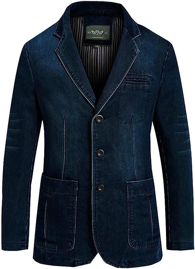 Tasahaya テーラードジャケット メンズ ブレザー デニム スーツジャケット スリム 紳士 カジュアル ビジネス 3つボタン 春秋服