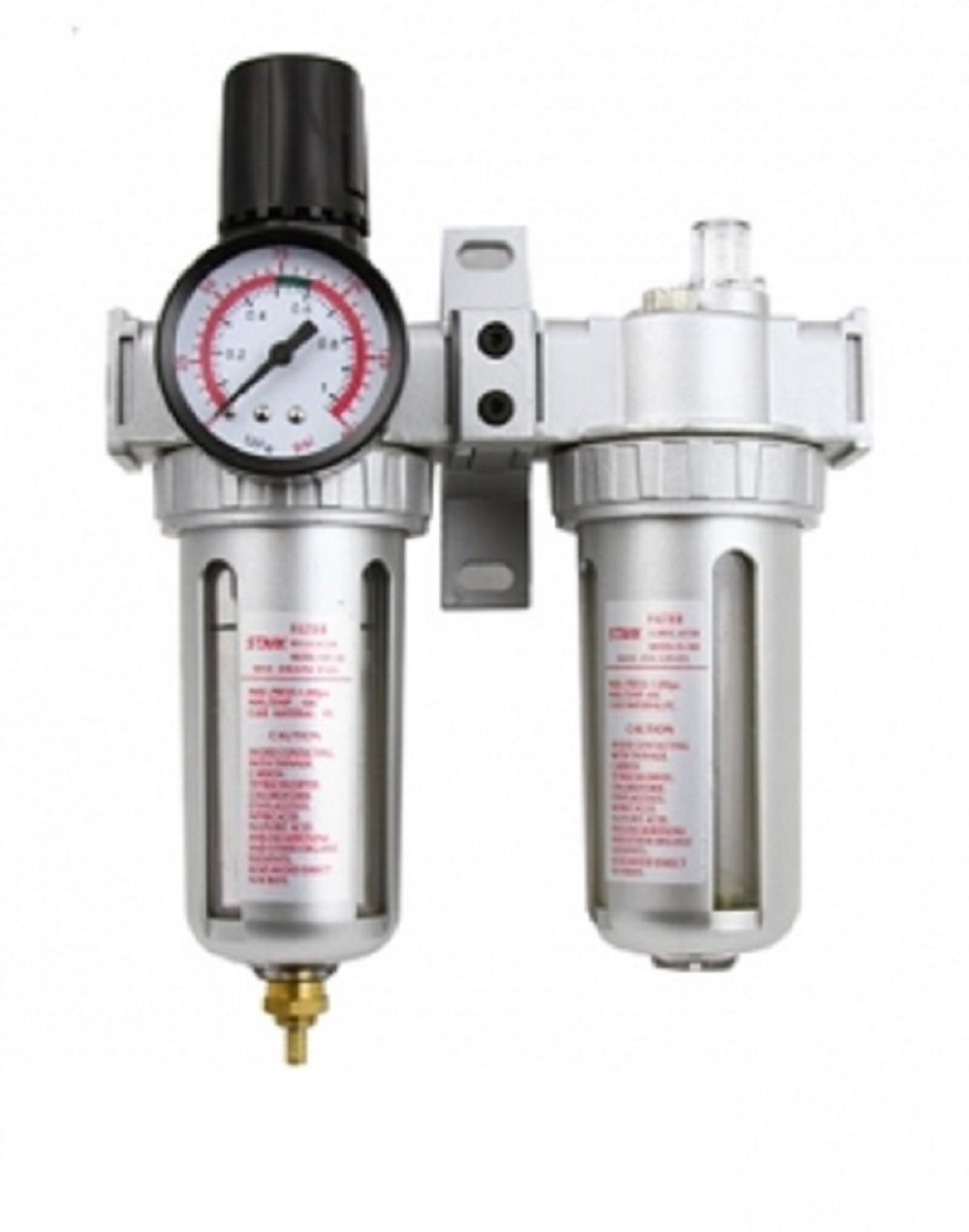 3 In 1 Twin Air Filter Pressure Regulator Gauge Kit 3/8'' Water/Oil Trap Separator by J&R Quality Tools
