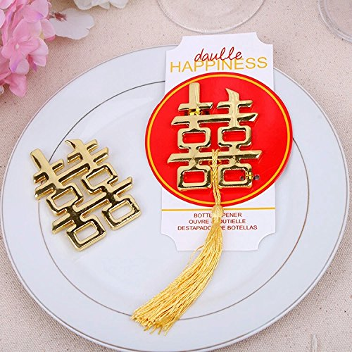 Wedding Favorギフト景品にぴったりのゲスト – -中国アジアテーマDouble Happiness Bottle Openerパーティーお土産50個/ロット B01HBVIHVY