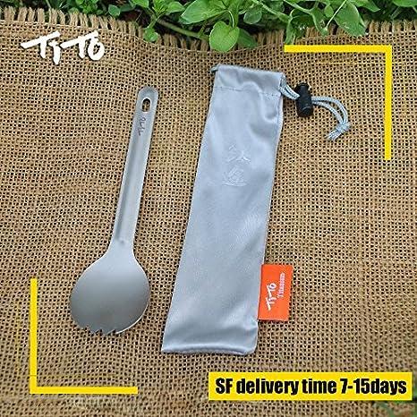 TITO Tenedor de titanio para camping al aire libre, ultraligero, solo 10,2 g, cuchara de titanio para camping al aire libre y picnic