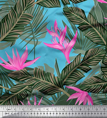 (Soimoi Blue Cotton Cambric Fabric Floral & Leaves Tropical Print Fabric by Yard 56 Inch Wide)