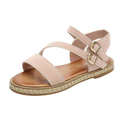 df19589d3d1e1 2019 Fashion Women' Summer Boho Beach Sandals,Belt Buckle Flat Ladies  Casual Sandals Rome Solid Holiday Shoes (US 5-7.5)