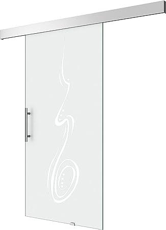 Puerta Corredera de Cristal Amalfi Titan TS18 – 1025, mango tipo: Barra Mango, BxH: 102,5 x 205 cm, 8 mm Cristal de Seguridad de Vidrio, diseño yo: Amazon.es: Bricolaje y herramientas