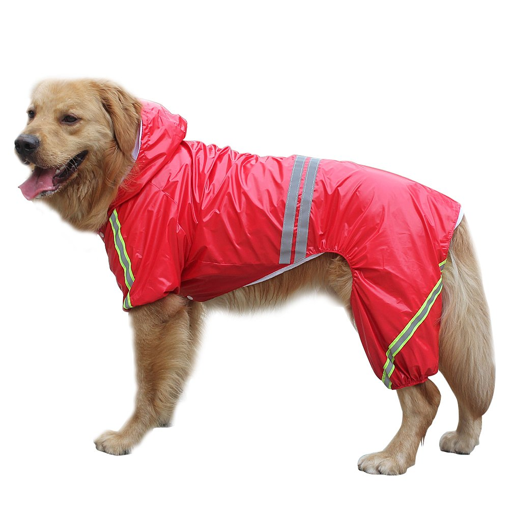 Red Chest 27.5\ Red Chest 27.5\ Didog 4 Legs Reflective Dog Raincoat Jacket,Lightweight Waterproof Dog Rainwear Clothes for Small Medium Large Dogs,Red,3XL Size