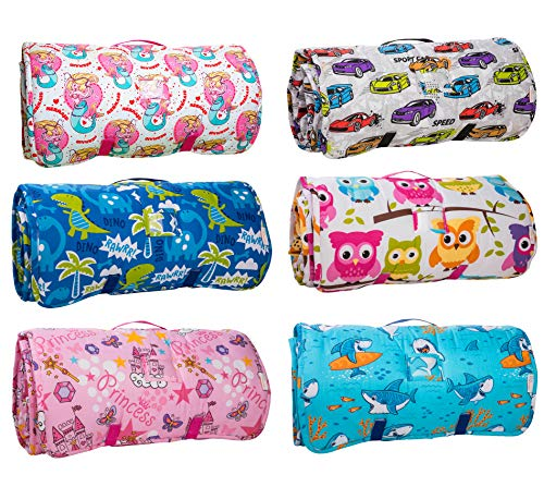 Kids Nap Mat with Removable Pillow - Soft, Lightweight Mats, Easy Clean Toddler Nap Pad for Preschool, Daycare, Kindergarten - Children Sleeping Bag (Pink with Princess Design) by Bambino Bliss by Bambino Bliss (Image #4)