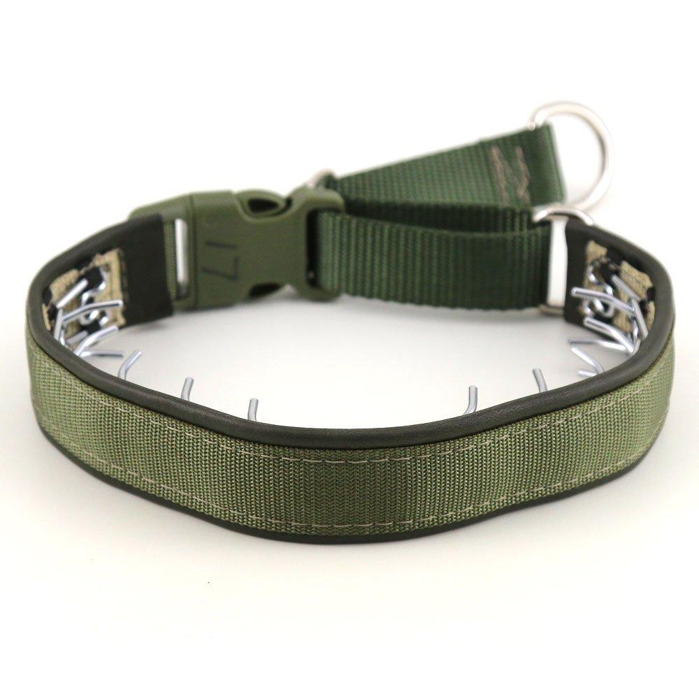 Keeper 1'' Wide Collar Hidden Prong with snap - OD Green (14'')