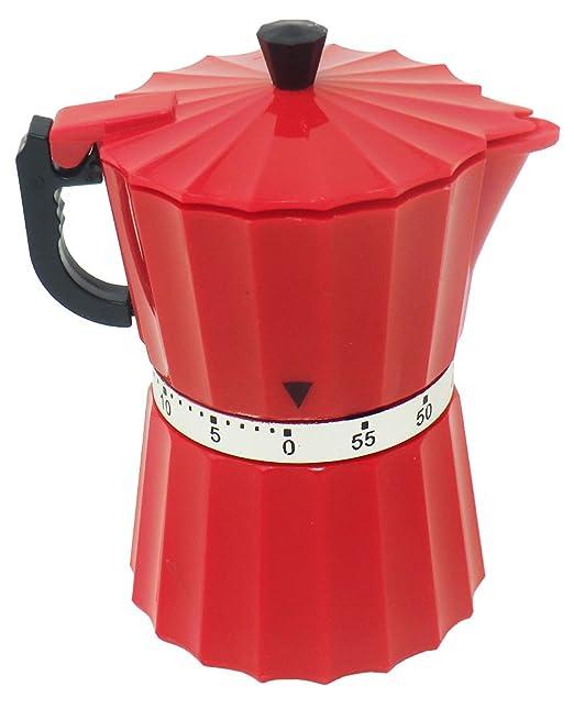 Cucuba® TEMPORIZADOR MECÁNICO DE COCINA DESIGN CAFETERA MOKA TAMAÑO 11X6X6CM – IDEA DE REGALO (Color: Rojo)