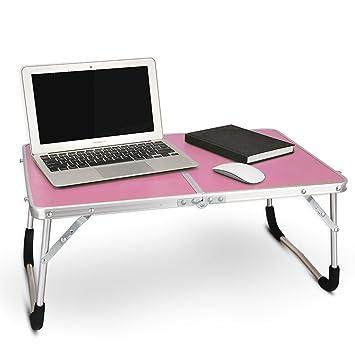 Mesita de noche con soporte para ordenador portátil, mesa plegable portátil, bandeja de desayuno plegable con ...