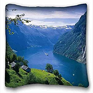 Generic Personalized ( Landscapes lake Mountains Trees ) Custom Cotton & Polyester Soft Rectangle Pillow Case Cover 16x16 inches (One Side) suitable for California King-bed PC-Red-5430